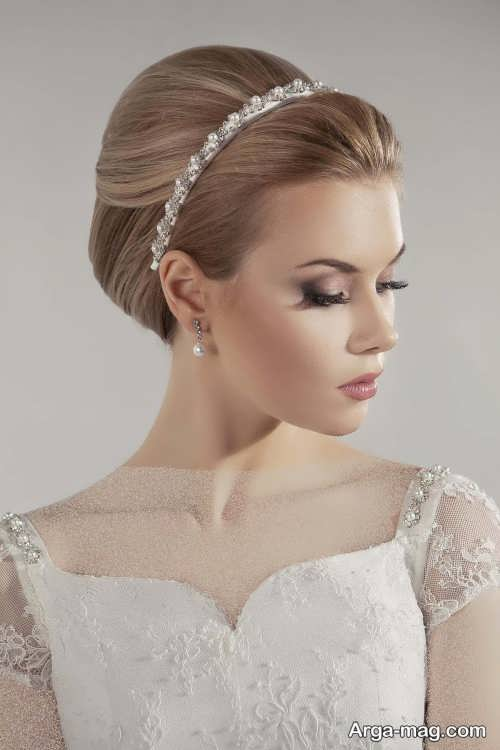 مدل مو بسته با تاج برای عروس