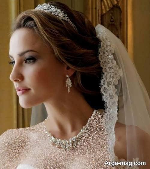 مدل موی بسته عروس با تاج و تور