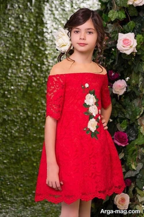 مدل لباس مجلسی گیپور دخترانه