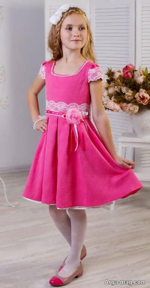 مدل لباس مجلسی صورتی دخترانه
