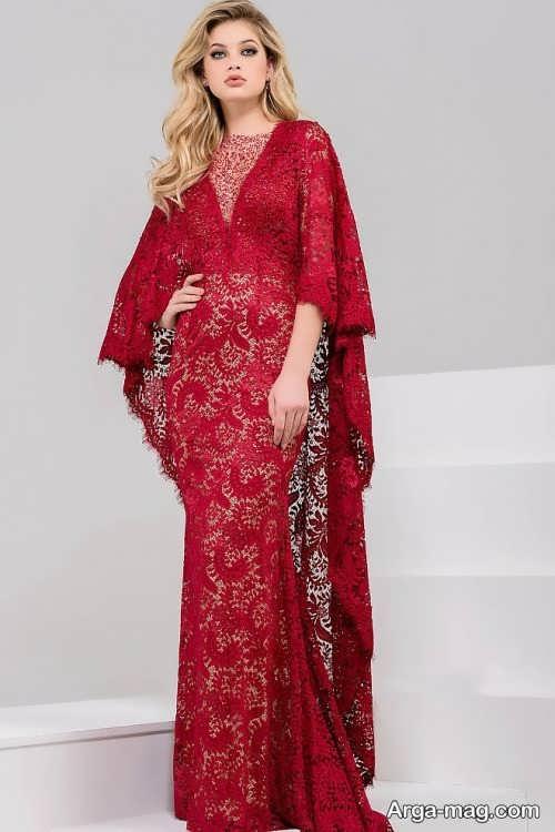 لباس مجلسی گیپور قرمز