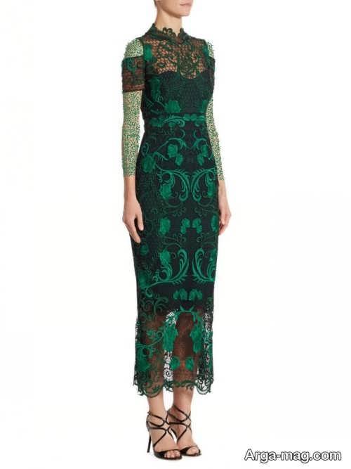 مدل لباس مجلسی گیپور سبز