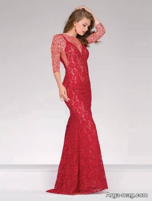 مدل لباس مجلسی گیپور قرمز