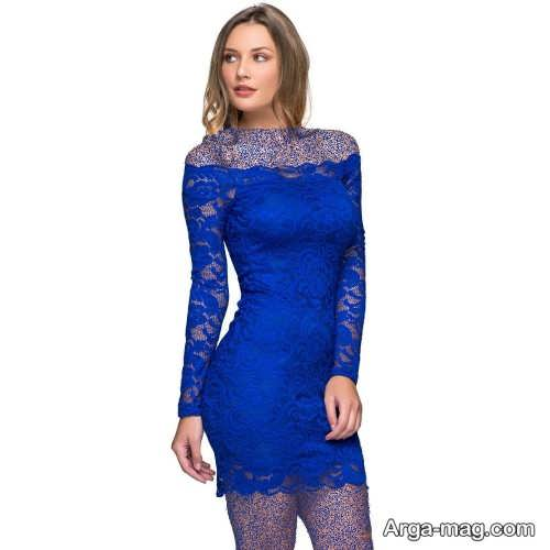 مدل لباس مجلسی آبی گیپور