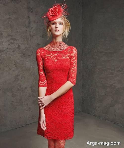 لباس مجلسی قرمز گیپور