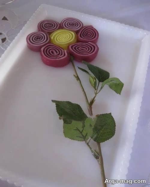 تزیین ژله رولی به شکل گل