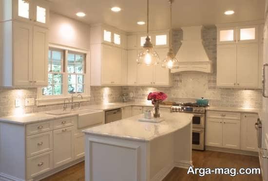 طراحی زیبا و لاکچری آشپزخانه با رنگ سفید