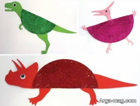 ساخت دایناسور با کاغذ رنگی