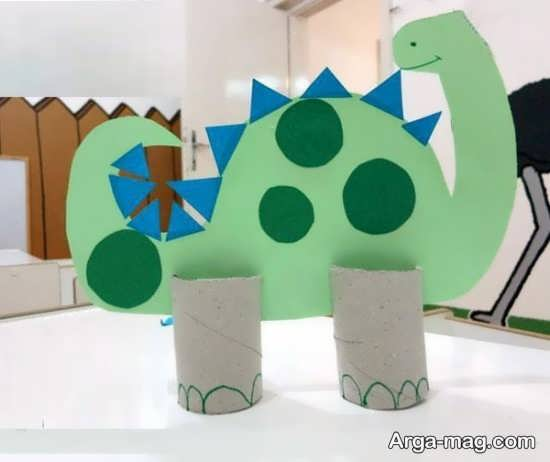 ساخت دایناسور با رول دستمال کاغذی
