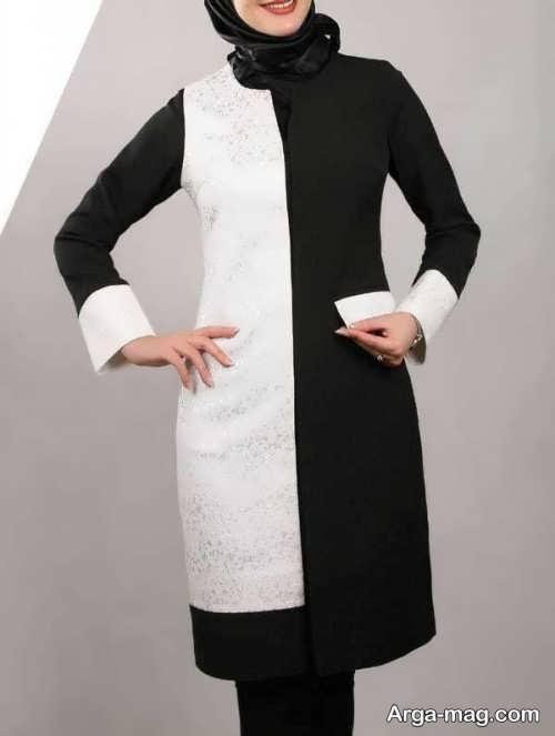 مدل مانتو سفید و مشکی زنانه