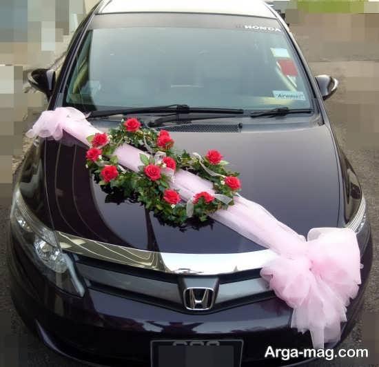 تزیین کردن ماشین عروس با تور صورتی
