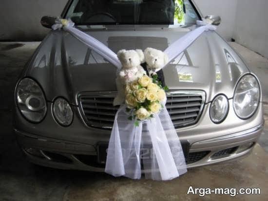 تزیین ماشین عروس با عروسک و تور