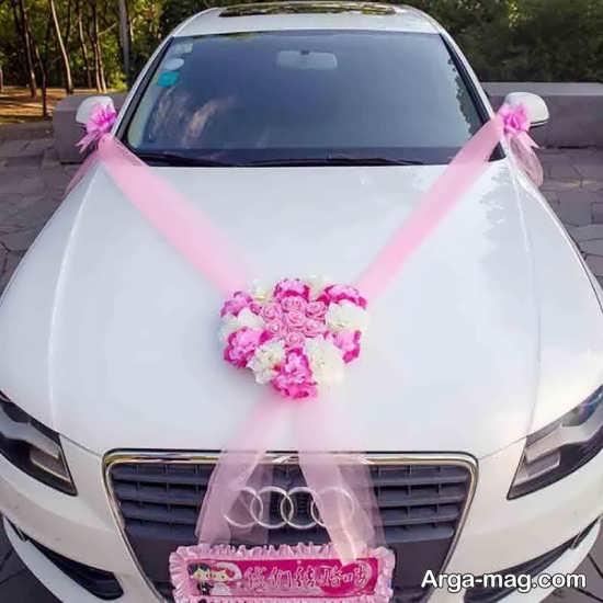 تزیین ماشین عروس با تور رنگی