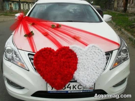 تزیین ماشین عروس با تور و قلب