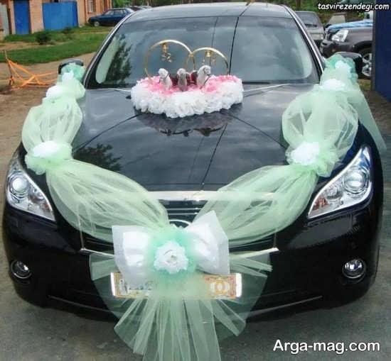 تزیین ماشین عروس با تور سبز