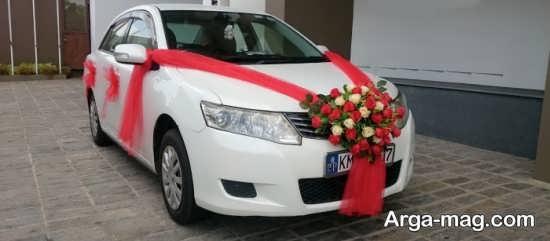 تزیین ماشین عروس با تور قرمز