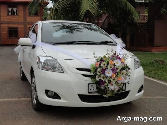 تزیین ماشین عروس با تور سفید