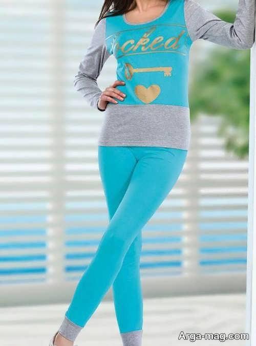 مدل لباس خانگی پوشیده و آبی