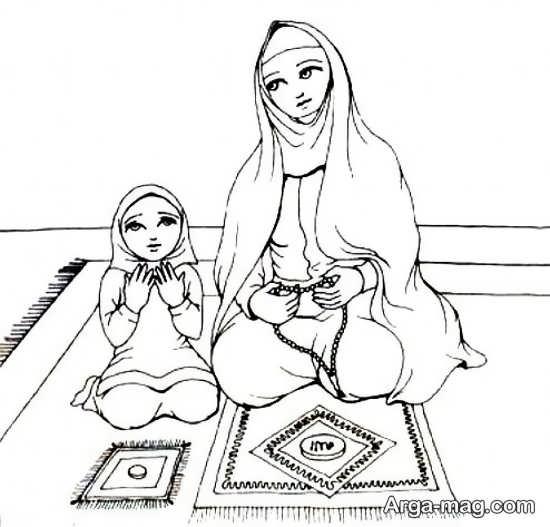 نقاشی حجاب و نماز