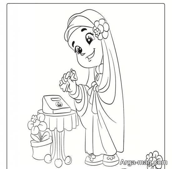 نقاشی حجاب چادر زیبا