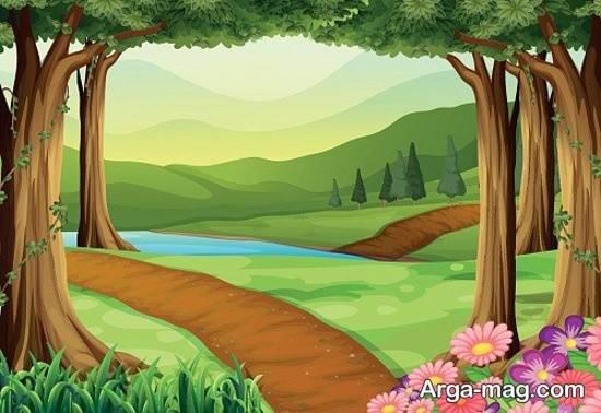 نقاشی دوست داشتنی جنگل
