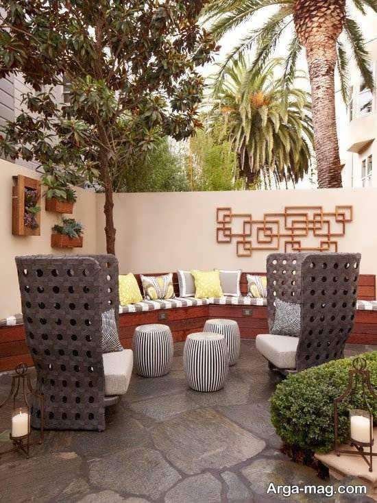 طراحی مدرن حیاط خلوت