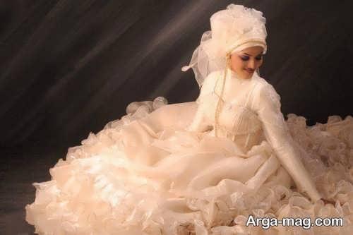 مدل لباس عروس با کلاه شیک و جدید