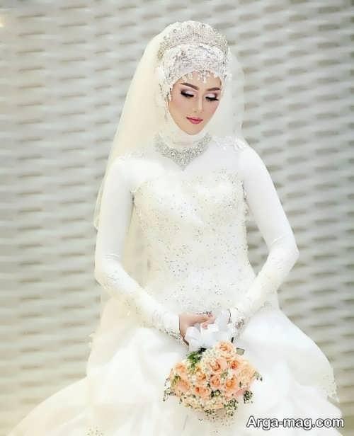 مدل لباس عروس شیک و کلاه دار