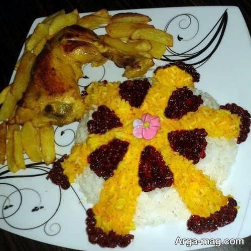 تزیین برنج و مرغ