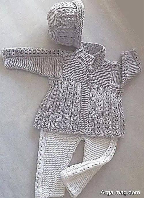 لباس بافتنی خاکستری دخترانه