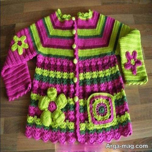 لباس بافتنی دخترانه طرح دار