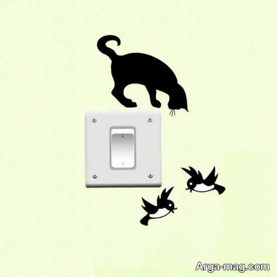 استیکر گربه برای روی پریز برق