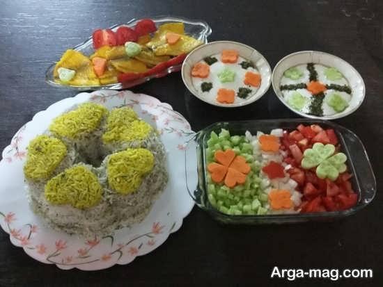 تزیین برنج قالبی