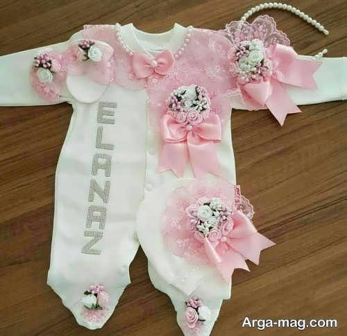 تزیین لباس نوزاد با تور