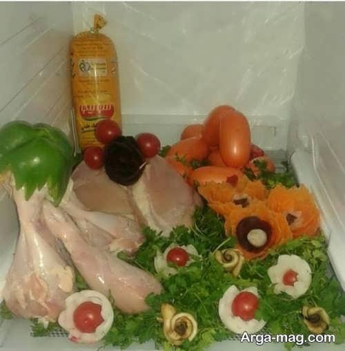 تزیین گوشت و سبزی برای یخچال عروس