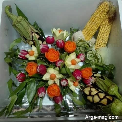 تزیین زیبا سبزیجات یخچال عروس