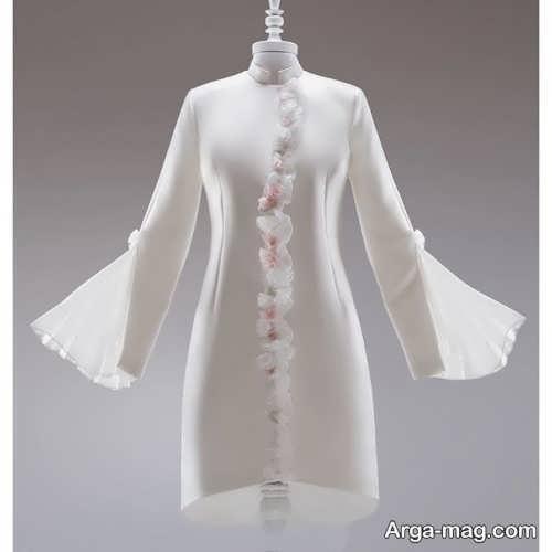 مدل لباس سفید کار شده برای مراسم خواستگاری