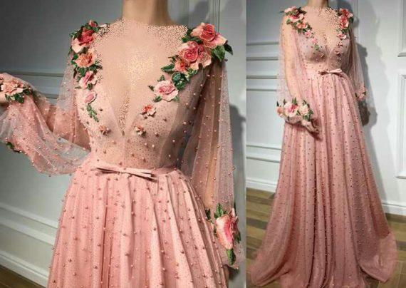 مدل لباس مجلسی گل برجسته
