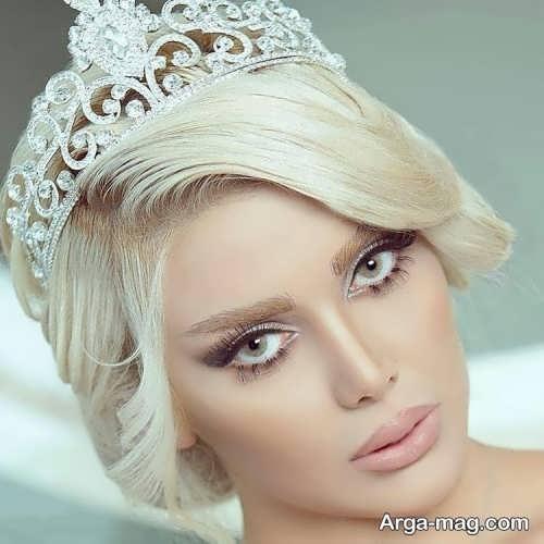 مدل آرایش صورت زنانه با موی بلوند