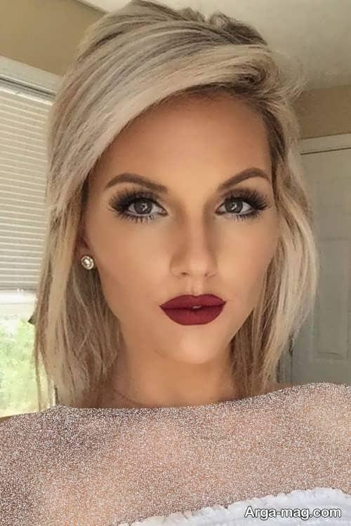 مدل آرایش صورت با مو بلوند