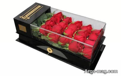 باکس گل رز قرمز شیک و زیبا