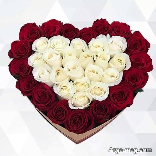 باکس گل سفید و قرمز