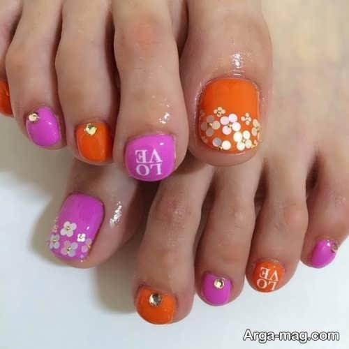 طراحی زیبا و کار شده ناخن پا