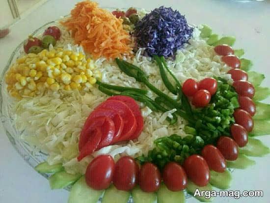 تزیین خلاقانه سالاد سبزیجات