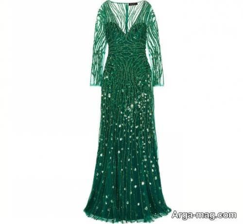 مدل لباس مجلسی سبز آستین دار