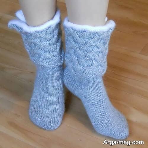 جوراب بافتنی طرح دار