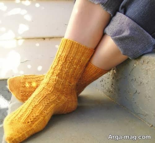 جوراب بافتنی زرد