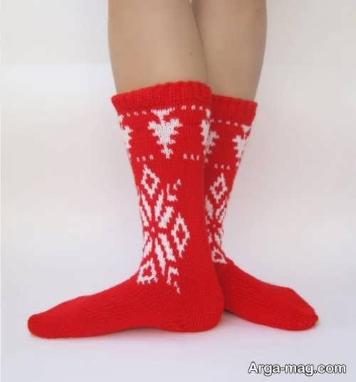 جوراب بافتنی قرمز و سفید