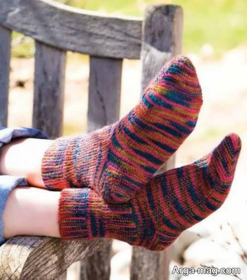 جوراب بافتنی زیبا و جدید