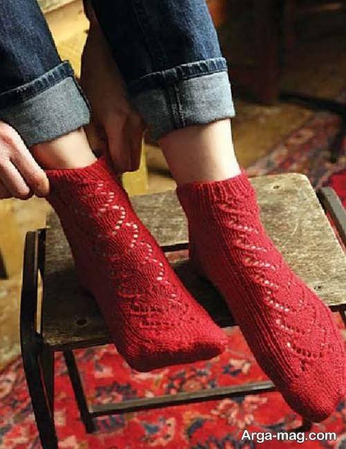 جوراب بافتنی قرمز